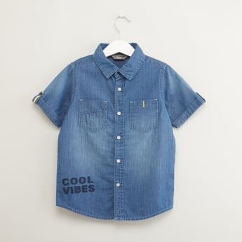 Embroidered Denim Shirt with Short Sleeves and Chest Pockets