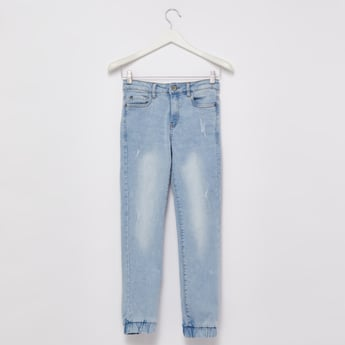 Distressed Joggers with Pocket Detail and Cuffed Hem