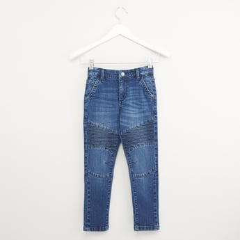 Textured Jeans with Belt Loops and Pocket Detail
