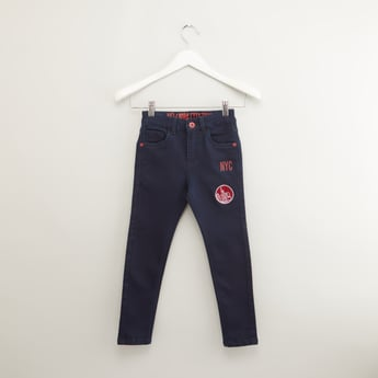 Full Length Printed Jeans with Pocket Detail and Belt Loops
