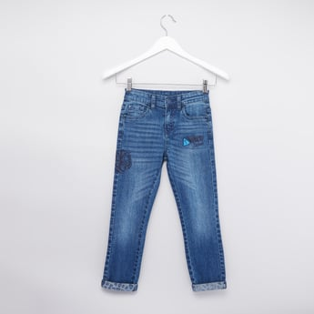Printed Denim Pants with Pockets and Button Closure