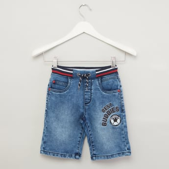 Textured Denim Shorts with Elasticated Waistband