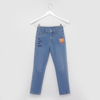 Embroidered Jeans with Belt Loops and Pocket Detail