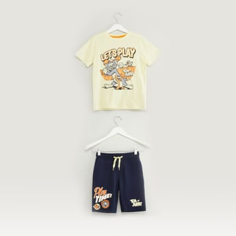 Tom and Jerry Print T-shirt and Shorts Set