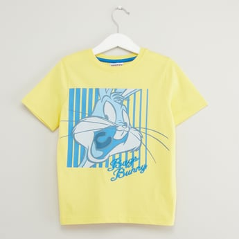 Bugs Bunny Print T-shirt with Round Neck and Short Sleeves