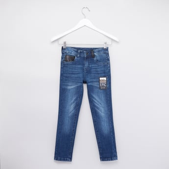 Textured Jeans with Belt Loops and Applique Detail