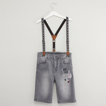 Pocket Detail Denim Shorts with Suspenders