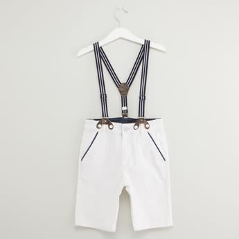 Solid Shorts with Pocket Detail and Suspenders