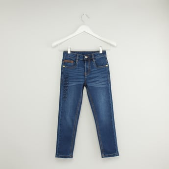 Applique Detail Jeans with Pockets and Button Closure