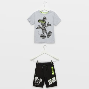 Mickey Mouse Print T-shirt and Shorts Set