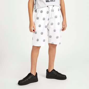 Avengers Placement Print Shorts with Pocket Detail and Drawstring