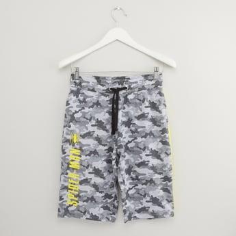 Spider-Man Print Shorts with Pocket Detail and Drawstring