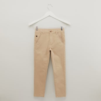 Textured Trousers with Pockets and Button Closure