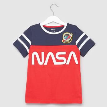 NASA Printed T-shirt with Round Neck and Short Sleeves