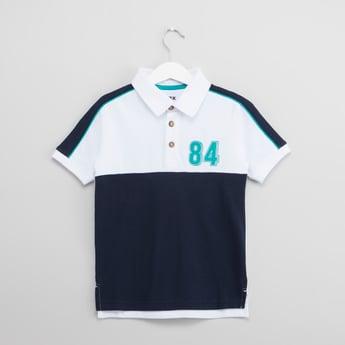 Colourblock Polo Neck T-shirt with Short Sleeves