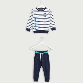 Striped Round Neck Sweatshirt with Full Length Plain Jog Pants