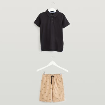 Solid Polo T-shirt with Printed Shorts