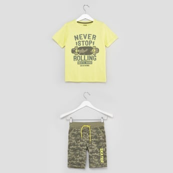 Printed Short Sleeves T-shirt with Shorts