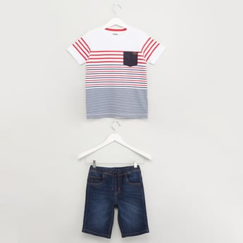 Striped Round Neck T-shirt with Denim Shorts