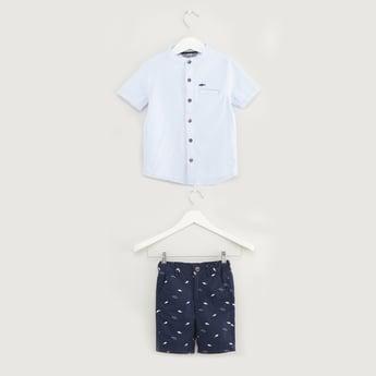 Textured Short Sleeves Shirt with Printed Shorts