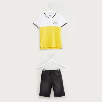 Printed Cut and Sew T-shirt and Denim Shorts Set