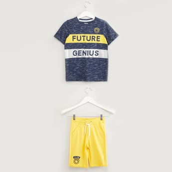 Foil Print T-shirt with Pocket Detail Shorts