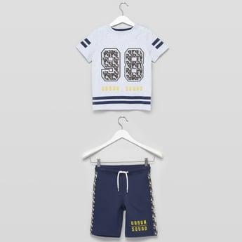 Printed T-shirt with Short Sleeves and Shorts Set