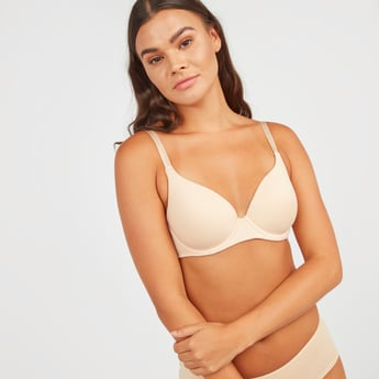 Solid Padded Bra with Hook and Eye Closure