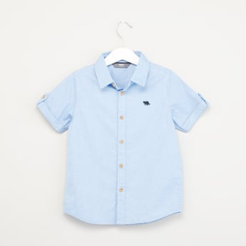 Button Down Shirt with Roll Tab Sleeves