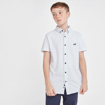 Polka Dot Print Shirt with Button-Down Collar and Short Sleeves