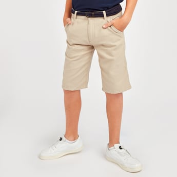 Textured Shorts with Pockets and Belt