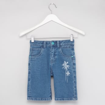 Palm Print Denim Shorts with Pockets