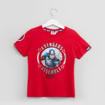 Avengers Captain America Themed Print T-shirt with Round Neck