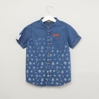 Printed Mandarin Collared Shirt with Short Sleeves and Chest Pocket