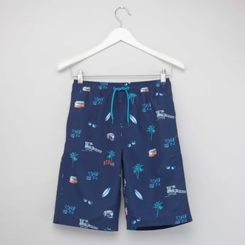 Printed Swim Shorts with Drawstring Closure