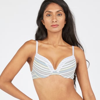 Striped Plunge Bra with Hook and Eye Closure
