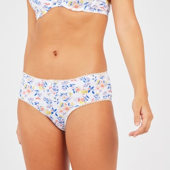 Floral Print Hipster Briefs with Bow Applique