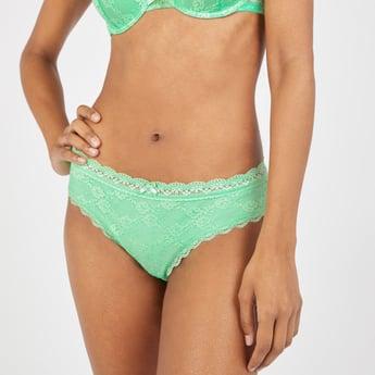 Lace Detail Bikini Briefs with Elasticised Waistband