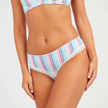 Heart Print Brazilian Briefs with Lace Detail