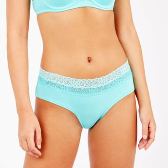 Solid Boyleg Briefs with Lace Detail