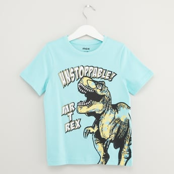Mr T-Rex Graphic Print T-shirt with Short Sleeves