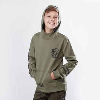Printed Hoodie with Long Sleeves and Kangaroo Pockets