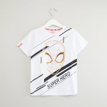 Spider-Man Printed T-shirt with Foil Detail and Short Sleeves