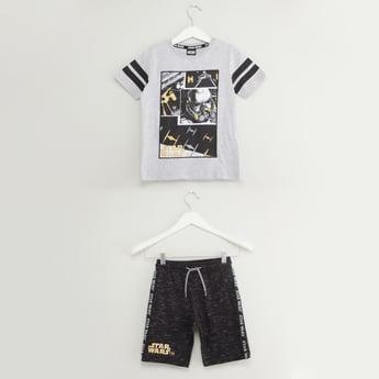 Star Wars Print T-shirt and Shorts Set