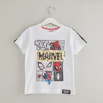 Spider-Man Printed T-shirt with Round Neck and Sequin Detail