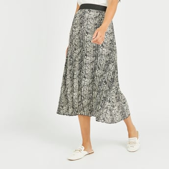 Printed A-Line Skirt with Elasticised Waistband