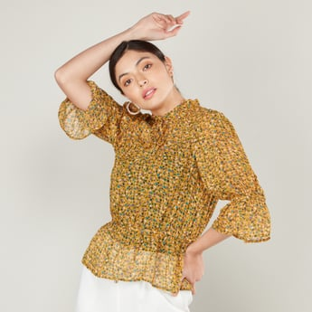 Ditsy Print Sheer Peplum Top with Tie Neck Collar and Flute Sleeves