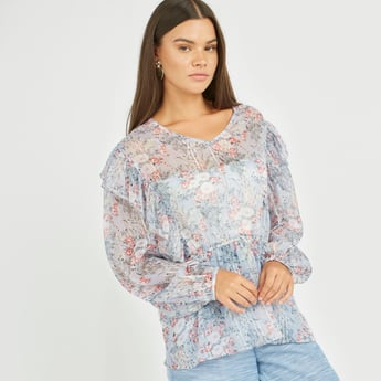 Floral Print Peplum Top with V-neck and Long Sleeves