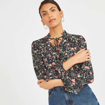 Floral Print Blouse with Band Collar and Tie-Up