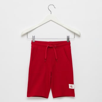 Solid Pique Shorts with Pockets and Drawstring